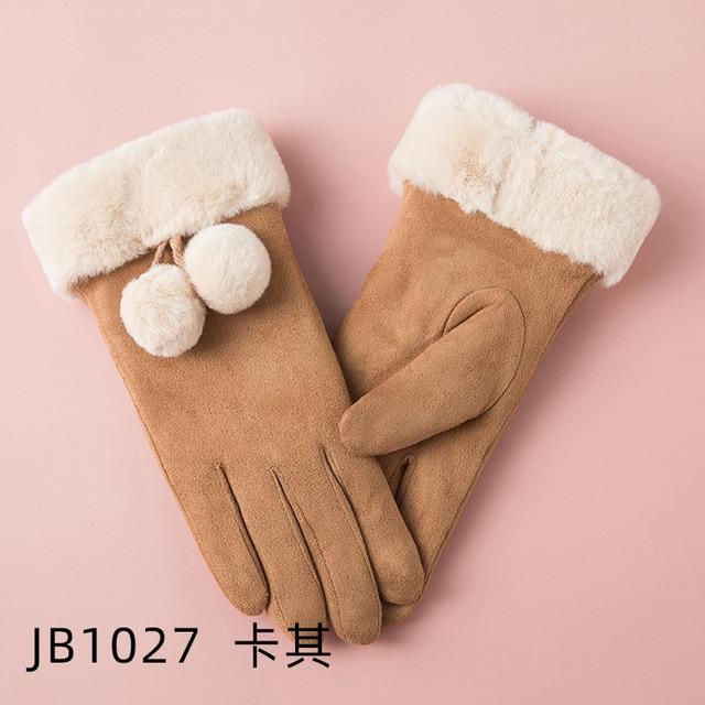 Plush Doll Mittens Ski Driving Gloves Winter Gloves Winter Gloves For Women Warm Solid Color Gloves For GRAYwhite Color