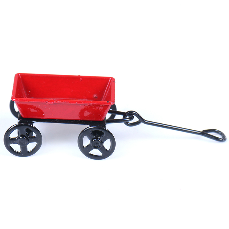 Metal Red Small Pulling Cart 1:12 Mini Cute Dollhouse Toy Gifts Ornament Miniature Garden Furniture Accessorie
