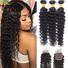 Deep-Wave-Bundles Closure Cambodian Hair-Extensions Human with Natural-Color Non-Remy