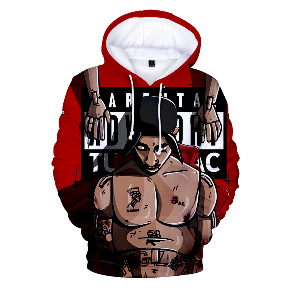 Rapper 2Pac 3D Hoodies Men Women Hip Hop Hoodies Streetwear Fashion Oversized Hoodies Sweatshirt Tupac Amaru Shakur 3D Hoodies