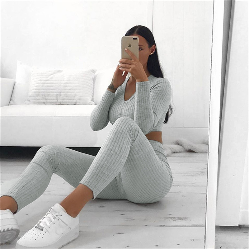 Women's Two Piece Sets V-neck Long Sleeve 2020 Sexy Crop Tops Pants Autumn Feminine Matching Sets Streetwear Tracksuits