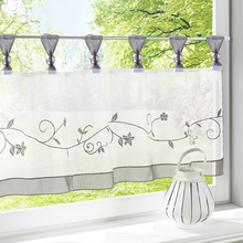 Summer 1 PCS Kitchen Curtain  Fashion Cafe Embroidered 100% Polyester Pastoral Style Grey Small Curtain  Home Decoration