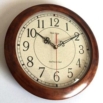 Vintage Wood Wall Clock Silent Living Room  Bedroom Duvar Saati Gift Clock Mechanism Wall Watches Home Decor B50