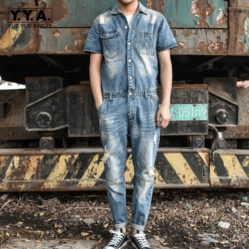 Japan Retro Mens Overalls Short Sleeved One Piece Denim Pants Casual Washed Jeans Jumpsuits Button Classic Hole Ripped Trousers