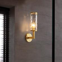 Casa interior de cobre lámpara de pared para dormitorio, lámpara Vintage americano pared accesorios Fondo escalera corredor de vidrio lámpara de pared
