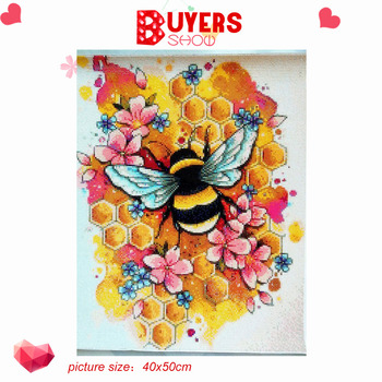HUACAN Diamond Painting New Square Round Animals Hobby And Handicraft Rhinestones Diamond Embroidery Bee 5d