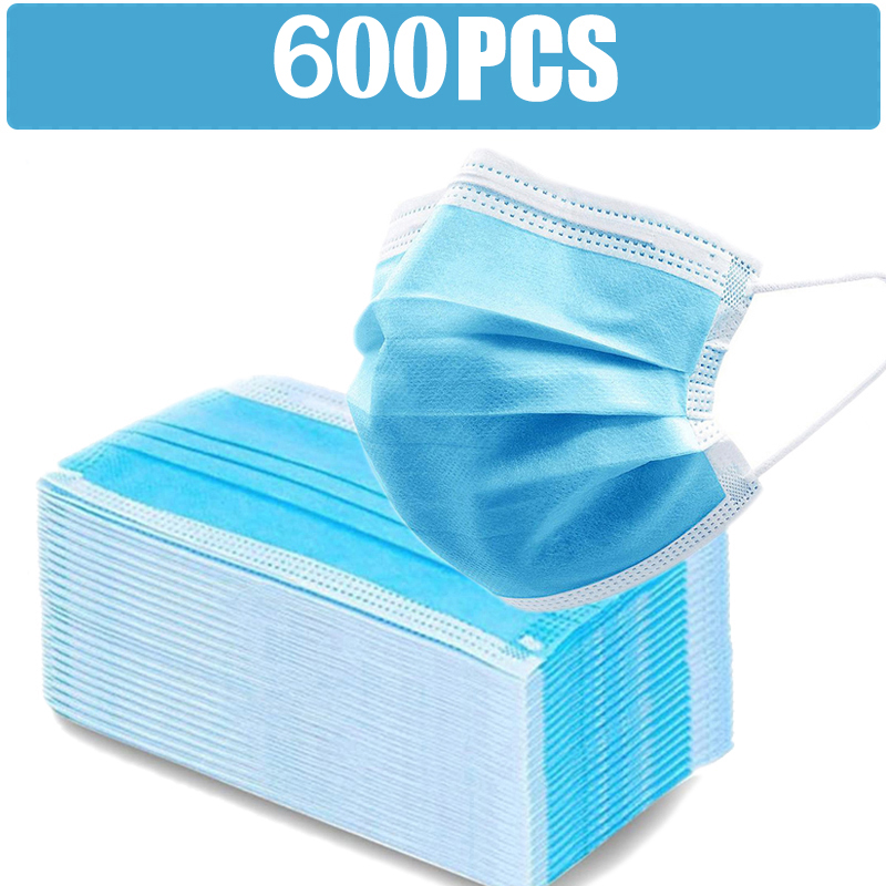 100/600Pcs Adult Disposable Mask Face Cover Mask Blue Adjustable Comfortable Masks For Outdoor Working mascarillas