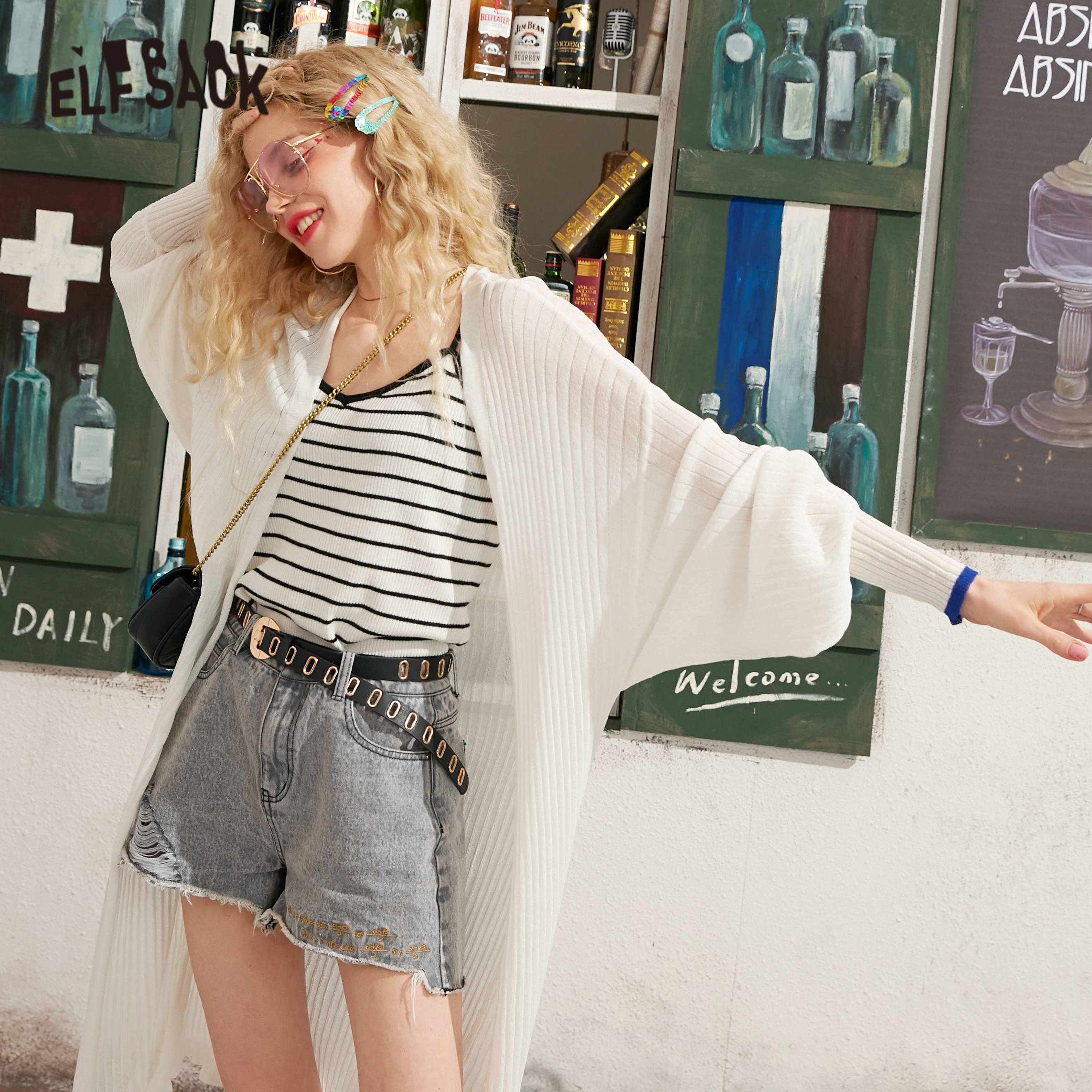 ELFSACK Black Solid Minimalist Knitted Casual Long Women Cardigans 2020 Spring White Pure Frill Lantern Sleeve Female Daily Tops
