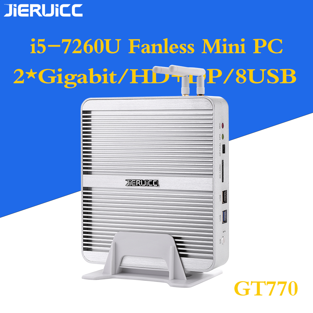 Fanless Mini Pc  I5 7260u Fanless Mini Pc With Dual Ram Slot HTPC /office Minipc Nuc Graphics 620