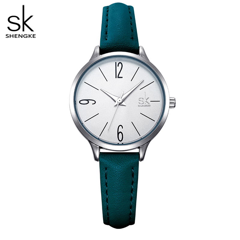Shengke Fashion Watch Women Casual Leather Quartz Watch Round Wrist Watch Women Blue Band Watch Relogio Feminino Reloj Mujer