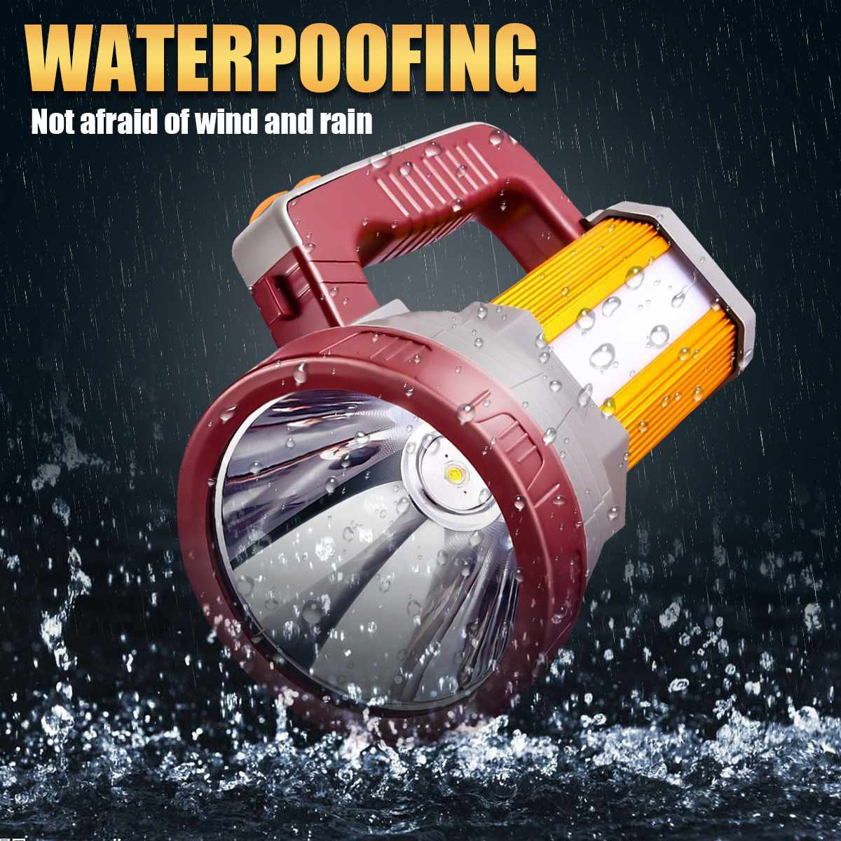200W Handheld Spotlight Portable USB Built-in 5200mAh Rechargeable LED Searchlight Lantern Flashlight Waterproof Spot Lamp