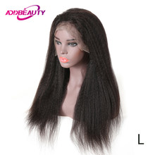 Full Lace Kinky Straight Wigs For Black Women Brazilian Baby Remy Human Hair Natural Hairline Color 130% Addbeauty Low Ratio(China)