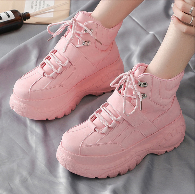 High Top Women Sneakers 5 Cm Thick Sole Shoes Breathable Sneaker Shoes White Pink Trend Street Shooting Increase Big Size  X1-47