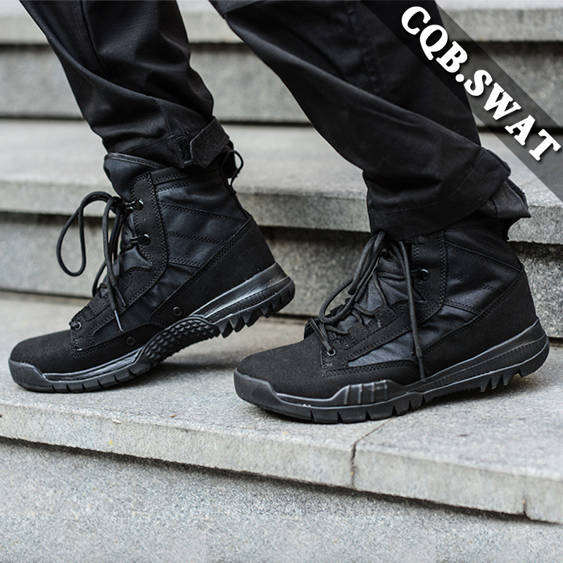 New Style Combat Boots Combat Boots NK Mid-top Ultra-Light Tactical Boots Black Summer Rubber Sole
