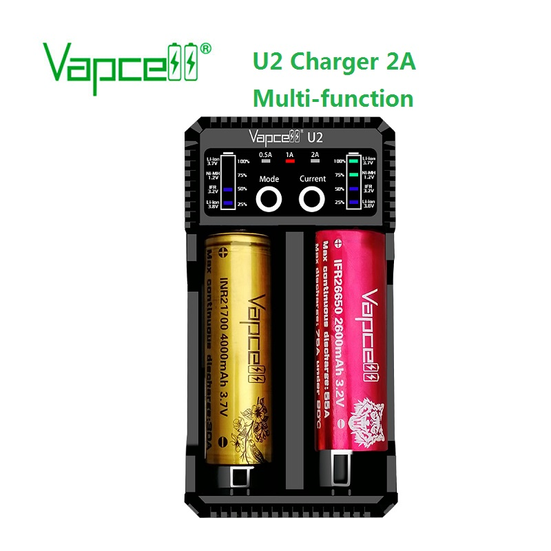Vapcell U2 2A Smart Mini Charger USB For Li-ion / Lifepo4 / Ni-MH/Ni-Cd AAA AAAA C D Battery Charge