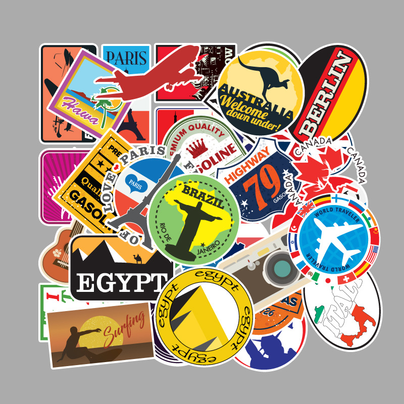 100 Pcs/set Famous Country Logo Stickers Travel Map PVC Waterproof Kids Toys Decor For Suitcase Skateboard Bicycle Car Guitar