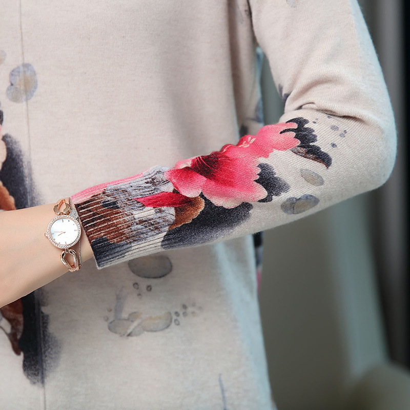 Women Autumn Cashmere Vintage Floral Sweater Elegant Middle Aged Mother Wool Sweater Pullover - 5