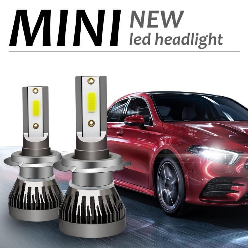 Лампы для автомобильных фар, комплект светодиодных фар H7, 120 Вт, 6000 лм, лампы High COB, белые, высокая мощность K, яркие Автомобильные фары