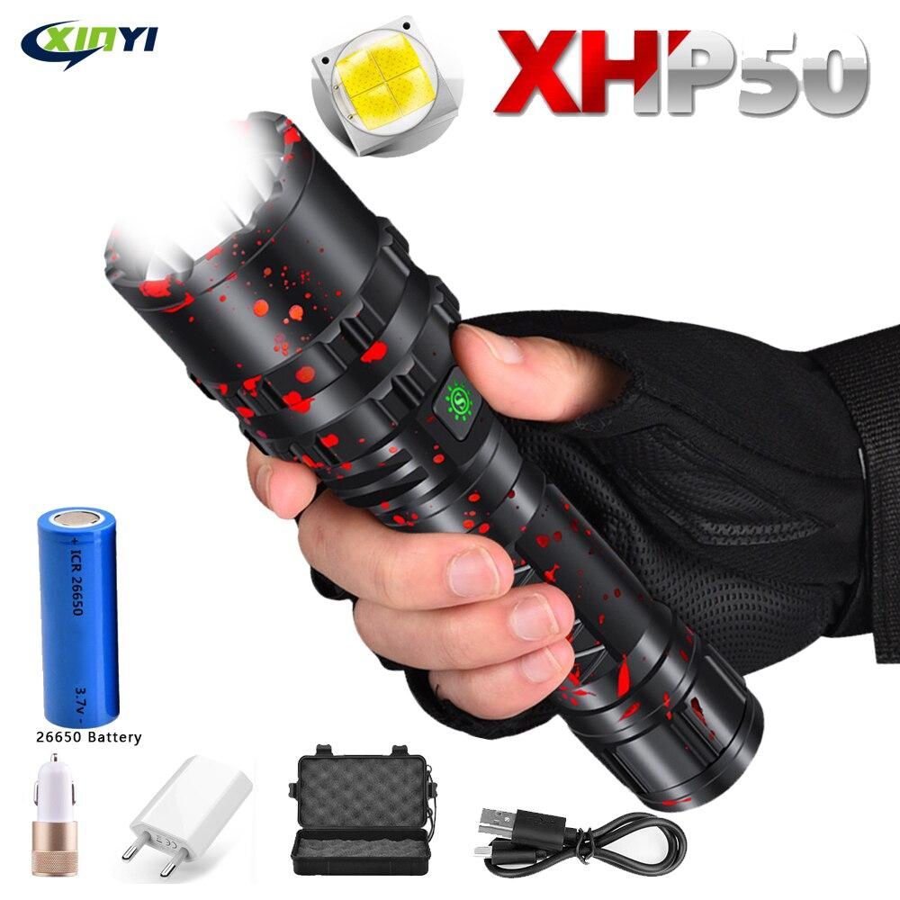 80000LM  Powerful XHP50 LED Flashlight Xlamp Aluminum Hunting L2 Waterproof 5Modes Torch Light Lanterna Use 18650 26650 Battery