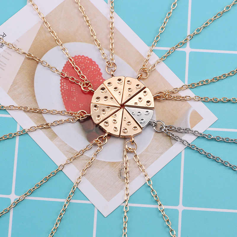 Europe And America Personalized Pizza Necklace Good Friend Girlfriends Stitching Set Chain Cheese Necklace for Women Accessories