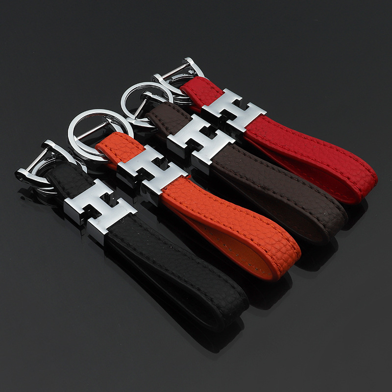 Fashion Metal H Letter Horseshoe Buckle Leather Keychain Luxury Litchi Leather Car Key Chain Keyfob Keyholder Auto Keychains