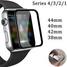 Полное покрытие из закаленного стекла для Apple Watch, версии 5 40 мм 44 Экран протектор для наручных часов iWatch серии 1/2/3/4 38 мм 42 мм(не стекло) с обмоткой эластичной пленкой