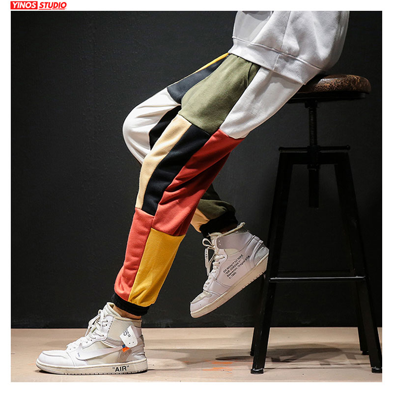 Dropshipping Baggy Hip-Hop Harem Pants Autumn Men Streetwear Causal Pants Mens Japanese Patchwork Colorful Pants Male