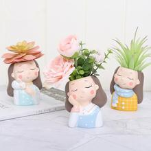 Get more info on the Garden Decor Flowerpot Succulent Planter Pot Vase Girl Figurines Desk Top Statue Figure Micro Landscape Bonsai Holder Pot