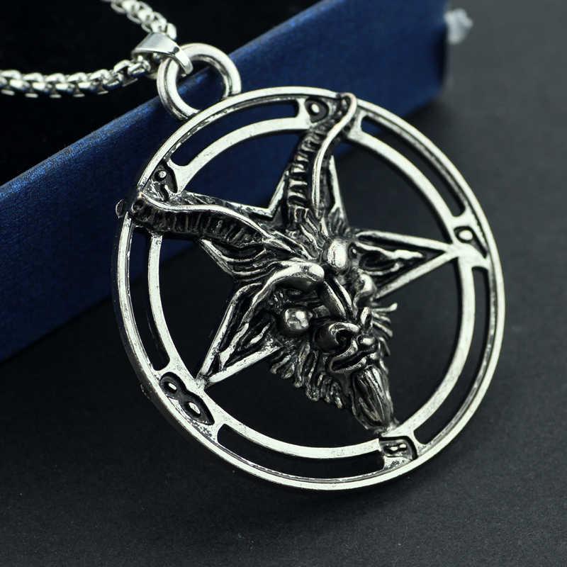 Baphomet Omgekeerde Geit Hoofd Pentagram Hanger Ketting Baphomet Laveyan Lavey Satanic Occult Punk Kettingen Voor Mannen