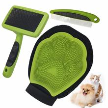 Self Cleaning Pet Slicker Brush Grooming Set 3-in-1 Dog Cat Shower Gloves Pet Hair Removal Needle Comb Pets Massage Bath Suit