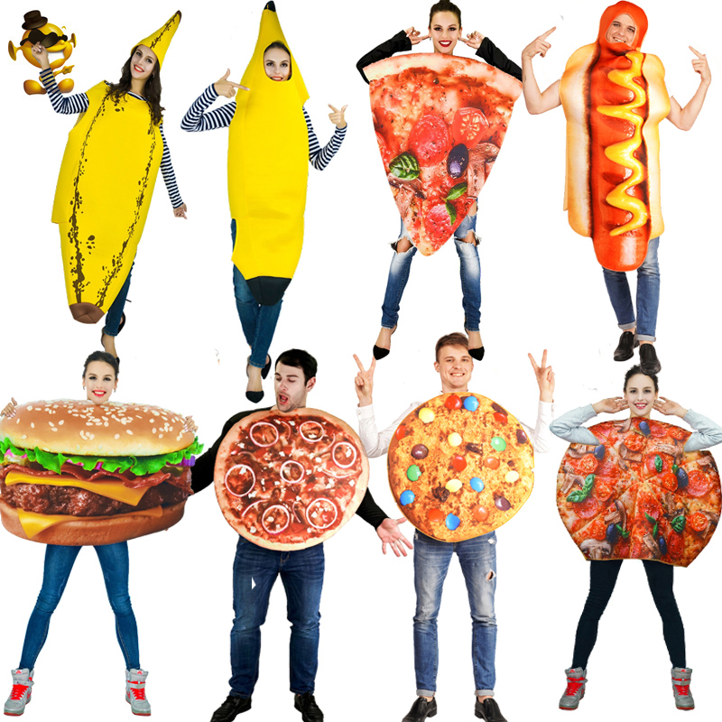 Adult Couple Stale&Banana &Hamburg &Pizza &Hotdog Costume Fancy Dress Carnival Party Cosplay Halloween Costume Disguise Purim image