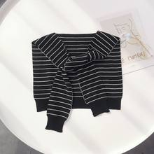 Children Boys Girls Navy Style Knitted False Collar Shawl Black White Stripes Self-Tie Fake Sweater Cape Shoulder with Sleeves(China)