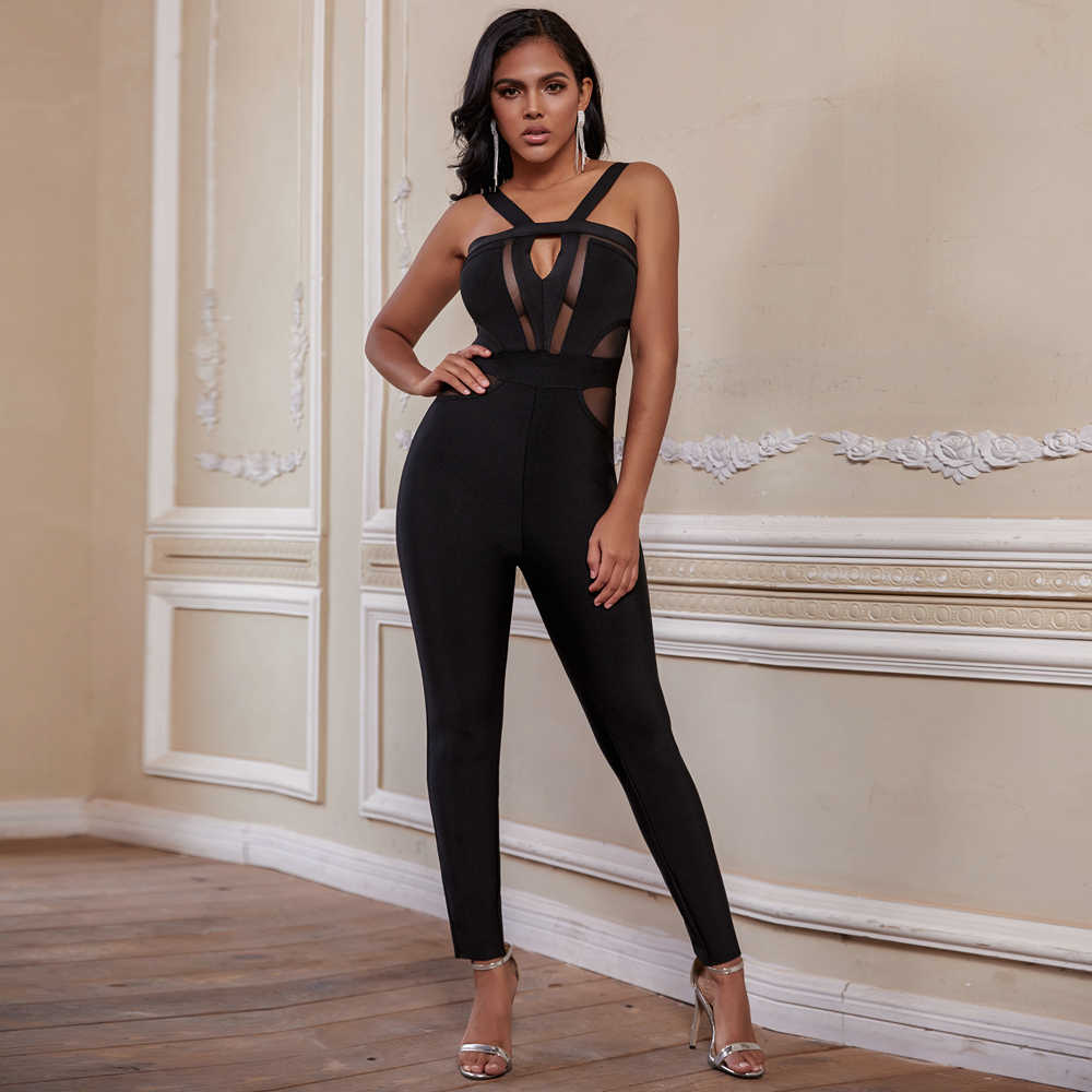 Ocstrade Frauen Bandage Overalls 2020 Neue Ankunft Sommer Cut Out Schwarz Bandage Overalls Bodycon Sexy Club Party Overall