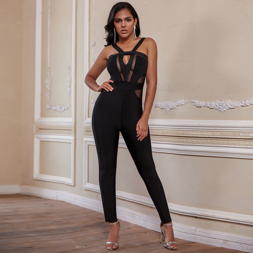 Ocstrade Women Bandage Jumpsuits 2020 New Arrival Summer Cut Out Black Bandage Jumpsuits Bodycon Sexy Club Party Jumpsuit