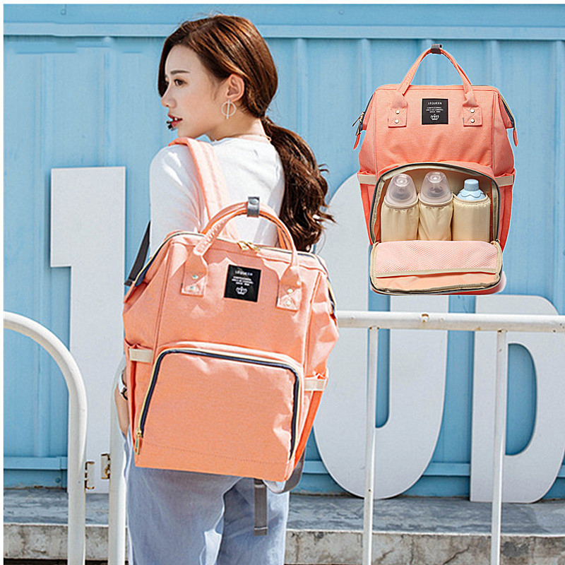Diaper Bag Multifunctional Fashion Mummy Backpack Large Capacity Baby Bag Pure Color Casual Backpack Waterproof Wearable Bag