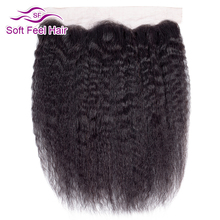 רך מרגיש שיער ברזילאי קינקי ישר פרונטאלית 13x4 אוזן לאוזן תחרה פרונטאלית סגירת רמי שיער טבעי תחרה פרונטאלית עם תינוק שיער