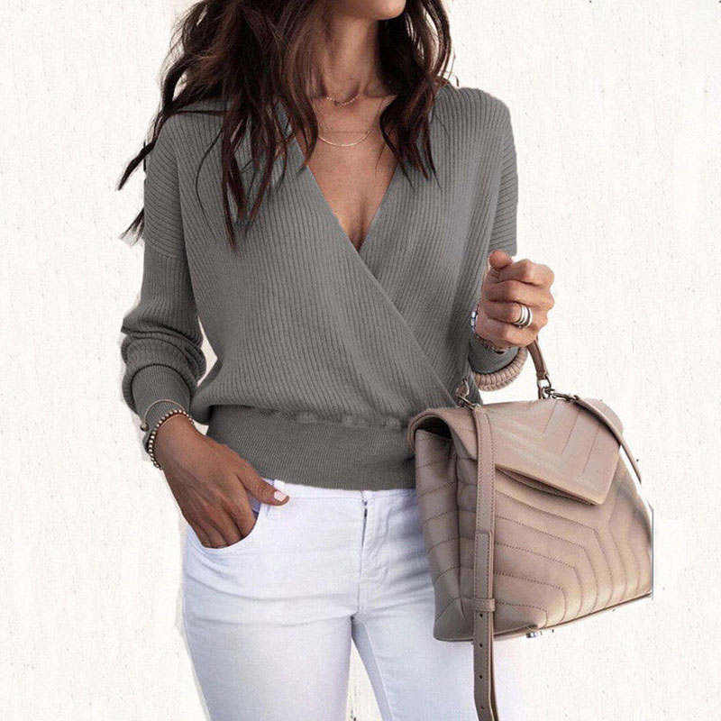 Fashion Solid Deep V-neck Sweater Tops Women Casual Long Sleeve Slim Pullovers Autumn Winter Female Sexy Simple Wild Knitted Top