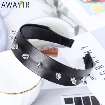 AWAYTR Metal Rivet Headbands For Women Hair Accessories Band Party Punk Headband Solid Color Hairbands for Girls Hair Hoop awaytr solid color satin rose flower headbands for women head bands bezel hairbands women girls hair accessories hair hoop