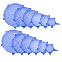 Tampa durável do estiramento do silicone de 12 pces-capa expansível do alimento para o intestino  pode  frasco  produtos vidreiros (6 tamanhos)