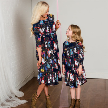 mother daughter dresses for mommy and me matching clothes family look outfits mom girl dress vintage long mom christmas C0645 1