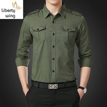 Spring Autumn Mens Long Sleeve Single Breasted Lapel Cargo Shirt Safari Style Slim Fit Korean Plus Size M-5XL Camisa Masculina(China)