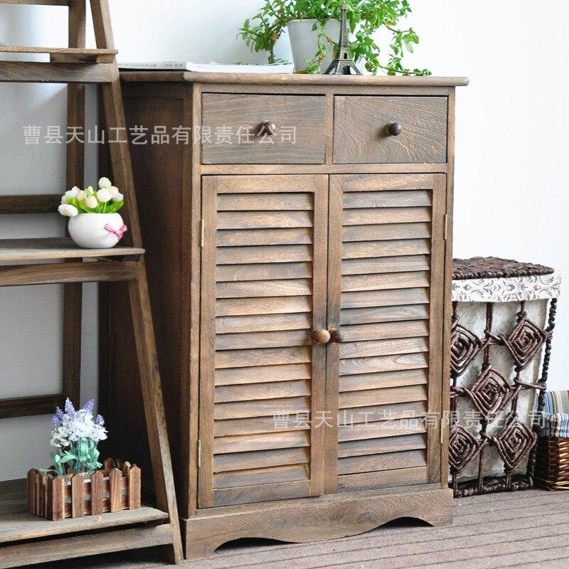 Armoire à chaussures en bois massif de Style américain armoire d'entrée multi-fonctionnelle deux portes volets armoire armoires de rangement salon