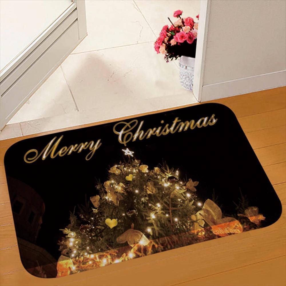 Santa Claus Flannel Door Mat Merry Christmas Decoration For Home Bathroom Carpet Christmas Party Decor 2019 Navidad Xmas Gift in Pendant Drop Ornaments from Home Garden