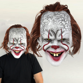 Horror Joker Pennywise Mask Stephen King It Chapter Two 2 Cosplay Scary Clown Latex Masks Halloween Party Costume Prop king stephen it