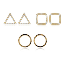 New Arrival Gold Color Stud Earrings for Women Wedding Geometric Delicate Design Austria Crystal Jewelry Gift Luxury CZ Earrings new fashion delicate cute gold cz zircon crystal round stud earrings rainbow color romantic love earrings for women girls gift