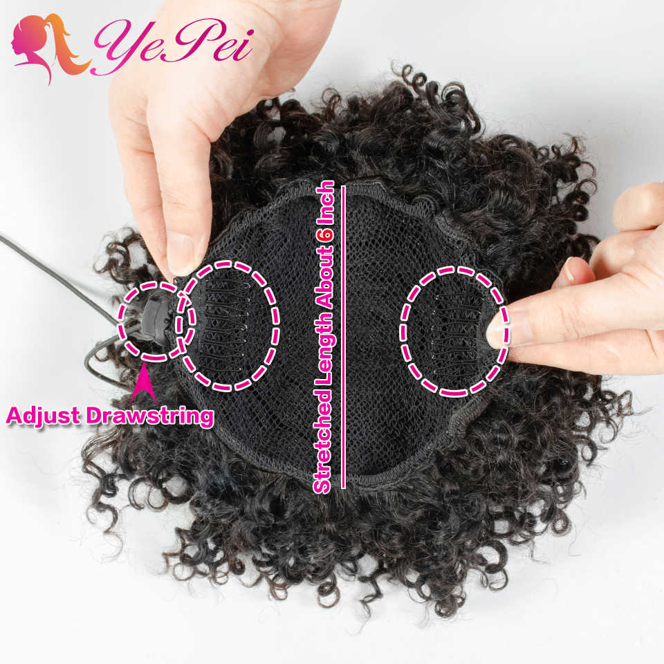 6 pulgadas de cabello corto rizado extensiones de Bollo cordón Cola de Caballo cabello humano Natural negro brasileño Clip Ins Remy Yepei cola de Pony