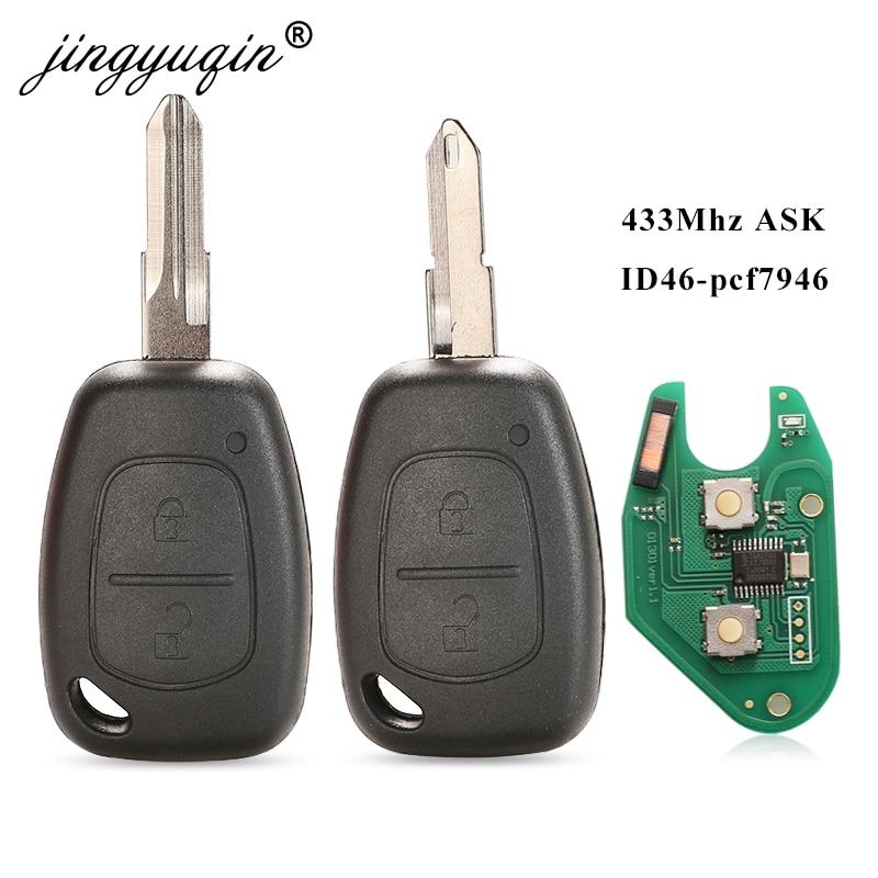jingyuqin 2 Button Car Remote Key 433mhz ID46 Chip Transmister for Renault Traffic Master Vivaro Movano Kangoo Ne73 VAC102 Blade