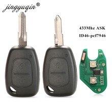 Jingyuqin 2 botões remotos automotivos, 433mhz, id46, chip, transmister, para renault, tráfego, master, vivaro, movano, kangoo, ne73, vac102 lâmina de lâmina