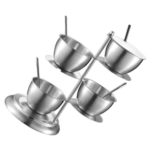 Stainless Steel Seasoning Containers Set Cruet Bottle Salt Pepper with Serving Spoons (4 Layers)