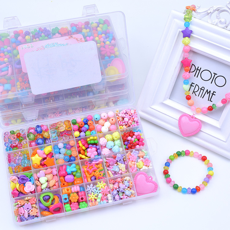 24 Lattice DIY Correct Bead Toy Weak Sight Children Bead Educational Toy GIRL'S Gift Send Hair Bands Case